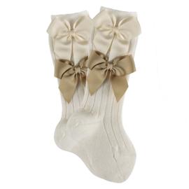 CONDOR - Merino wol kniekousen met strikken beige