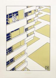 Zeefdruk The future of Le Corbusier, Joost Swarte