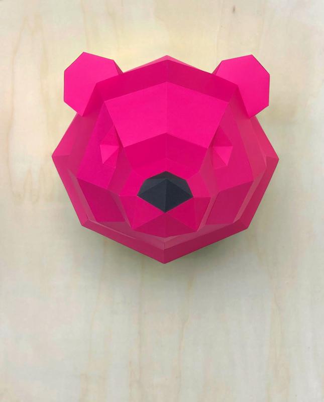3D Paper Polar Bear – Limited Edition, Pink