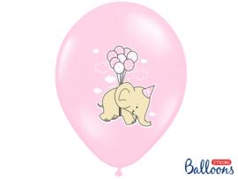 Roze ballonnen met olifantjes