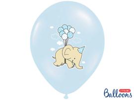 Ballonnen blauw met olifantjes (6st)