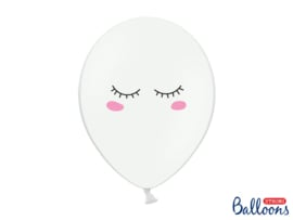 Ballonnen wit met gezicht