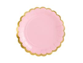 Roze bordjes met gouden randje (6st)