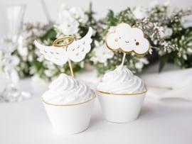 Cupcake prikkers jaardag wolkjes en engelvleugels