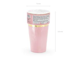Roze bekers met gouden randje (6st)