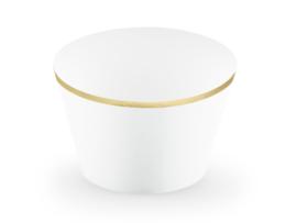 Cupcake bakjes wit met gouden ster (6st)