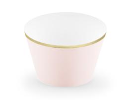 Cupcake bakjes roze met een gouden randje