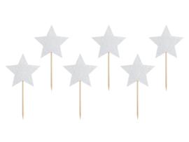 Cupcake prikkers zilveren sterren