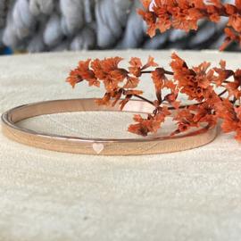 RVS armband met hart (rosé)