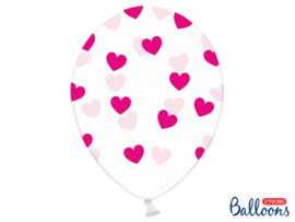Ballonnen doorzichtig met donker roze hartjes (6st)