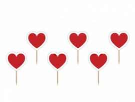 Cupcake prikkers rode hartjes (6st)