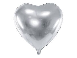 Folieballon hart zilver (61cm)