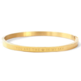 """RVS armband """"you are the star in my sky"""" (goud)"""