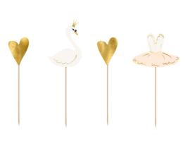 Cupcake prikkers lieve zwaan (4st)