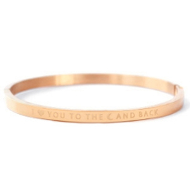 """RVS armband """"I love you to the moon and back"""" (rosé-goud)"""