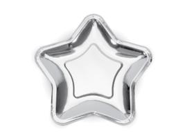 Zilveren sterren borden (6st)