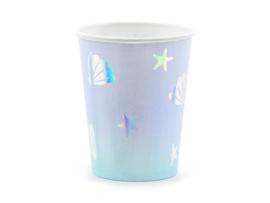 Licht blauwe bekers met sterren en zeesterren (6st)