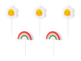 Mini-kaarsjes regenboog en bloem