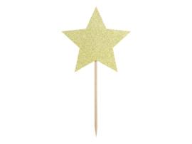 Cupcake prikkers gouden ster (6st)