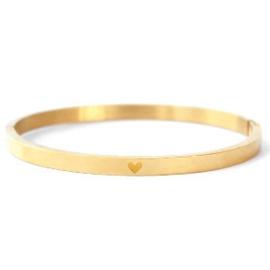 RVS armband met hart  (goud)
