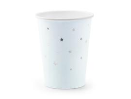 Bekers lichtblauw met zilveren sterretjes (6st)