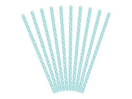 Blauw met witte stippen rietjes