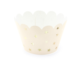 Cupcake bakjes perzik met gouden sterren voor een jaardag