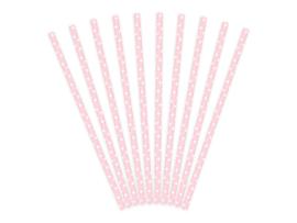 Roze met witte stippen rietjes