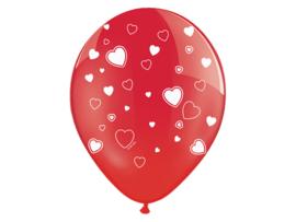 Ballonnen rood met witte hartjes (6st)
