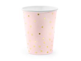 Bekers roze met gouden stippen (6st)
