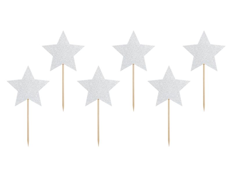 Cupcake prikkers jaardag zilveren sterren