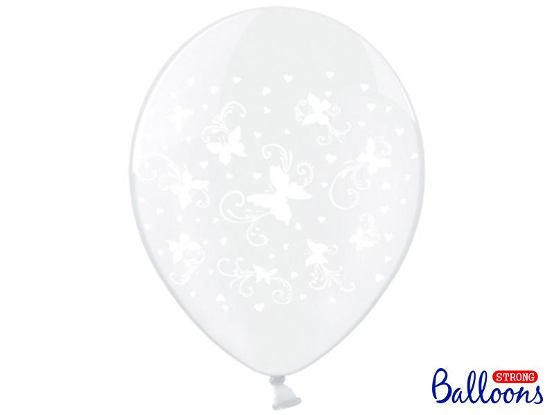 Transparante ballonnen met witte vinders (6st)