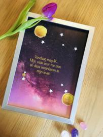 Verjaardagsposter Print ( Poster) Roze of Blauw