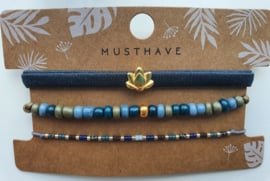 Armband set lotus groen/blauw (15)
