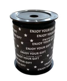 Lint 'enjoy your gift' zwart (10 mm)