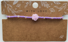 Armbandje bloem paars 2mm