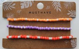 Armband set oranje/paars/roze parelmoer