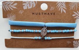 Armband set kruis blauw / zilver