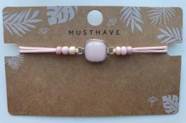 Armbandje natuursteen  blossom pink zilver (33)