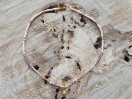 Ketting roze / paars (goud)