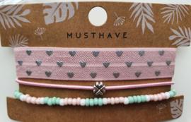Armband set roze klavertje