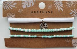 Armband set mint / wit life tree
