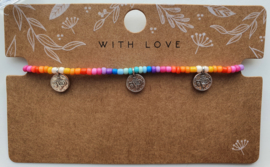 Enkelbandje rainbow coins zilver
