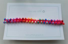 Geknoopte armband met rocailles rainbow 3mm