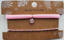 Armbandjes roze crystal hanger