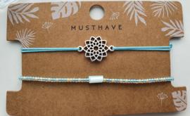 Armbandjes blauw bloem mandela
