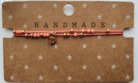 Armbandje dubbele draad roze / rose goud hangertje