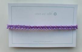 Geknoopte armband met miyuki glaskralen paars