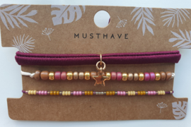 Armband set purple gold star