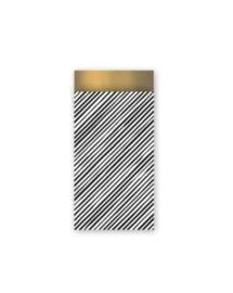 Streepjes zwart/wit/goud - 7 x 13